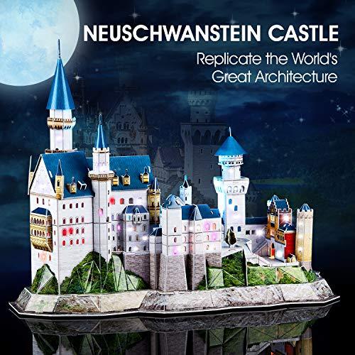 Cubicfun Puzzle 3d Castello Di Neuschwanstein Con Led Germania Modello Di Architettura Kit Regali Di Souvenir Per Adulti E Bambini 128 Pezzi 0 0
