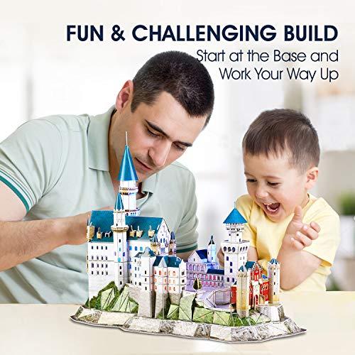 Cubicfun Puzzle 3d Castello Di Neuschwanstein Con Led Germania Modello Di Architettura Kit Regali Di Souvenir Per Adulti E Bambini 128 Pezzi 0 2