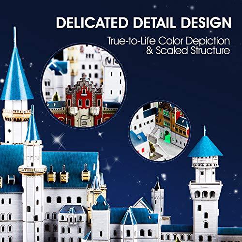 Cubicfun Puzzle 3d Castello Di Neuschwanstein Con Led Germania Modello Di Architettura Kit Regali Di Souvenir Per Adulti E Bambini 128 Pezzi 0 3