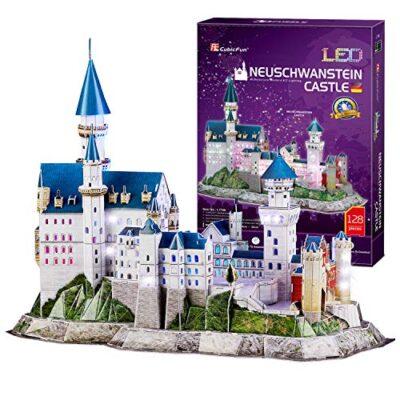 Cubicfun Puzzle 3d Castello Di Neuschwanstein Con Led Germania Modello Di Architettura Kit Regali Di Souvenir Per Adulti E Bambini 128 Pezzi 0