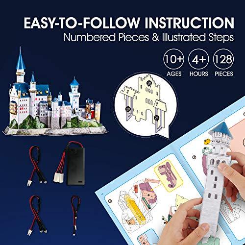 Cubicfun Puzzle 3d Castello Di Neuschwanstein Con Led Germania Modello Di Architettura Kit Regali Di Souvenir Per Adulti E Bambini 128 Pezzi 0 5