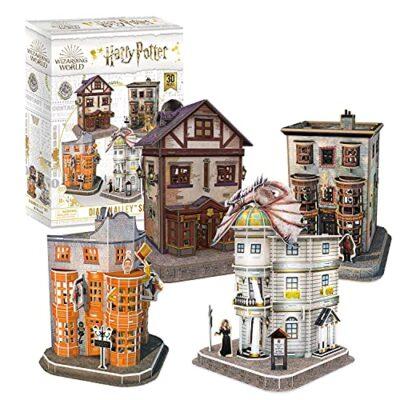 Cubicfun Puzzle 3d Harry Potter Collezione 4 In 1 Qualita Quidditch Supplies Ollivanders Wand Shop Weasleys Wizard Wheezes E Gringotts Bank 274 Pezzi 0