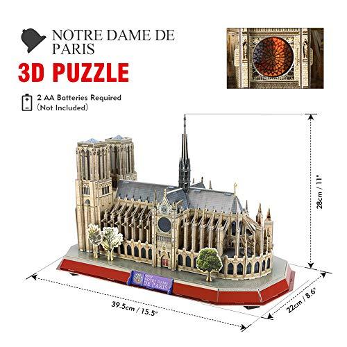 Cubicfun Puzzle 3d Led Notre Dame De Paris Francia Grande Architettura Kit Di Modellismo Souvenir Regalo Per Bambini E Adulti 149 Pezzi 0 0