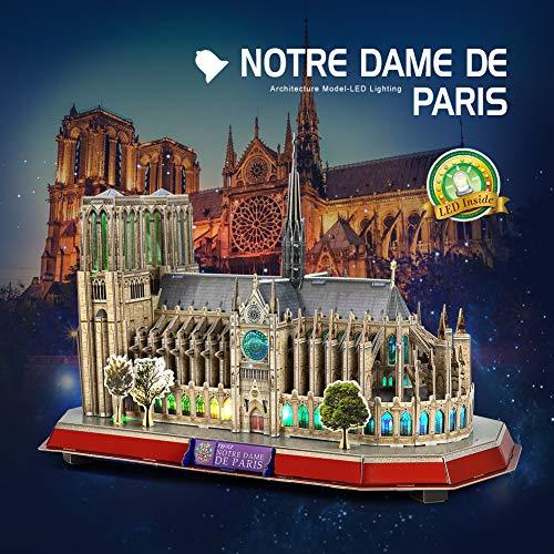 Cubicfun Puzzle 3d Led Notre Dame De Paris Francia Grande Architettura Kit Di Modellismo Souvenir Regalo Per Bambini E Adulti 149 Pezzi 0 1