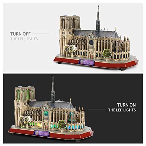 Cubicfun Puzzle 3d Led Notre Dame De Paris Francia Grande Architettura Kit Di Modellismo Souvenir Regalo Per Bambini E Adulti 149 Pezzi 0 2