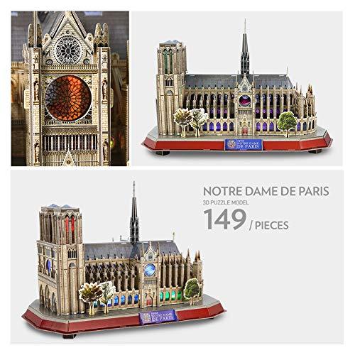 Cubicfun Puzzle 3d Led Notre Dame De Paris Francia Grande Architettura Kit Di Modellismo Souvenir Regalo Per Bambini E Adulti 149 Pezzi 0 4