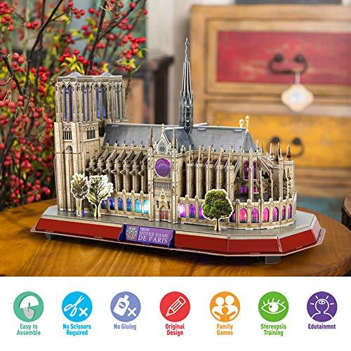 Cubicfun Puzzle 3d Led Notre Dame De Paris Francia Grande Architettura Kit Di Modellismo Souvenir Regalo Per Bambini E Adulti 149 Pezzi 0 5
