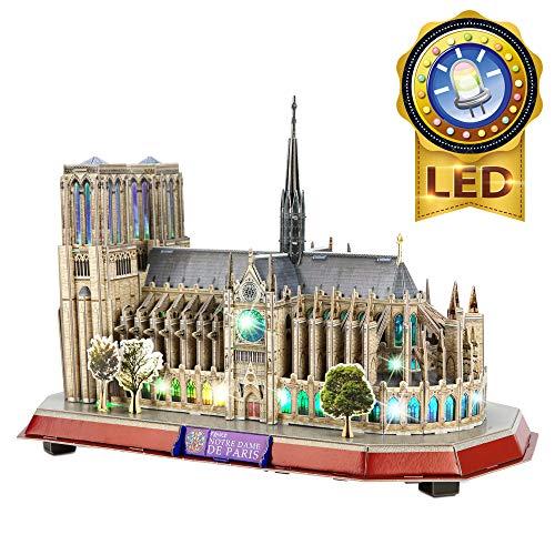 Cubicfun Puzzle 3d Led Notre Dame De Paris Francia Grande Architettura Kit Di Modellismo Souvenir Regalo Per Bambini E Adulti 149 Pezzi 0