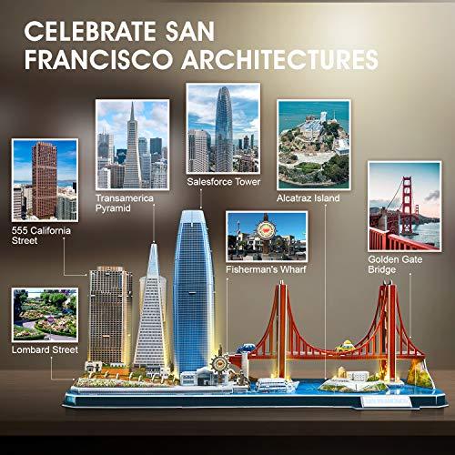 Cubicfun Puzzle 3d Led San Francisco Architecture Model Kit Per Bambini E Adulti Golden Gate Bridge 555 California Street E Altri Punti Di Riferimento Di Sf 90 Pezzi 0 0