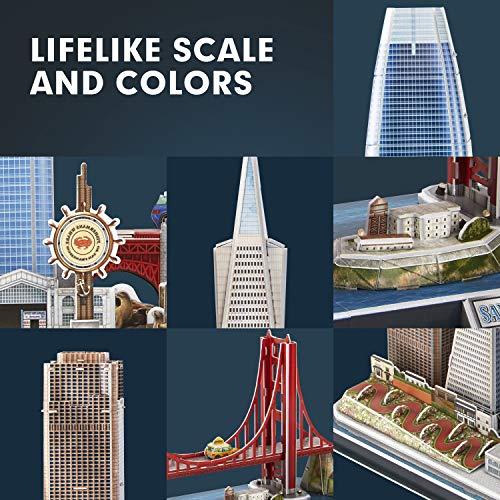 Cubicfun Puzzle 3d Led San Francisco Architecture Model Kit Per Bambini E Adulti Golden Gate Bridge 555 California Street E Altri Punti Di Riferimento Di Sf 90 Pezzi 0 2