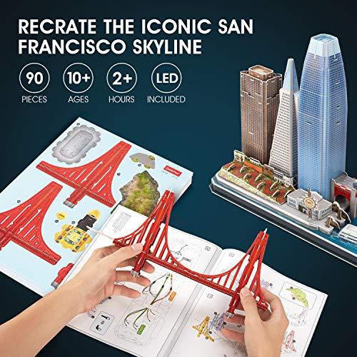 Cubicfun Puzzle 3d Led San Francisco Architecture Model Kit Per Bambini E Adulti Golden Gate Bridge 555 California Street E Altri Punti Di Riferimento Di Sf 90 Pezzi 0 3
