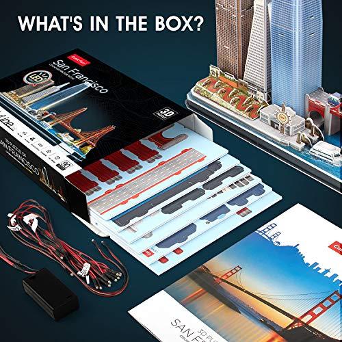 Cubicfun Puzzle 3d Led San Francisco Architecture Model Kit Per Bambini E Adulti Golden Gate Bridge 555 California Street E Altri Punti Di Riferimento Di Sf 90 Pezzi 0 4