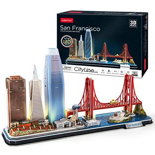 Cubicfun Puzzle 3d Led San Francisco Architecture Model Kit Per Bambini E Adulti Golden Gate Bridge 555 California Street E Altri Punti Di Riferimento Di Sf 90 Pezzi 0