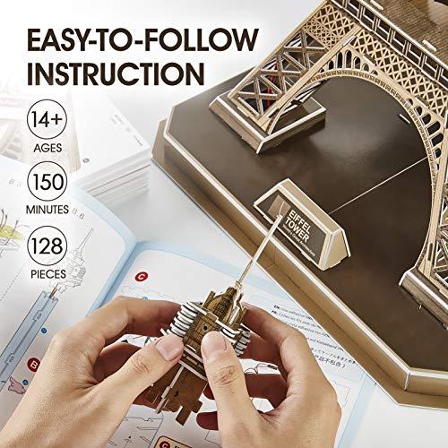 Cubicfun Puzzle 3d Torre Eiffel Con Brillanti Luci A Led Romantico Paris Architettura Kit Di Modellismo Decorazione Regalo Per Adulti Bambini 84 Pezzi 0 2