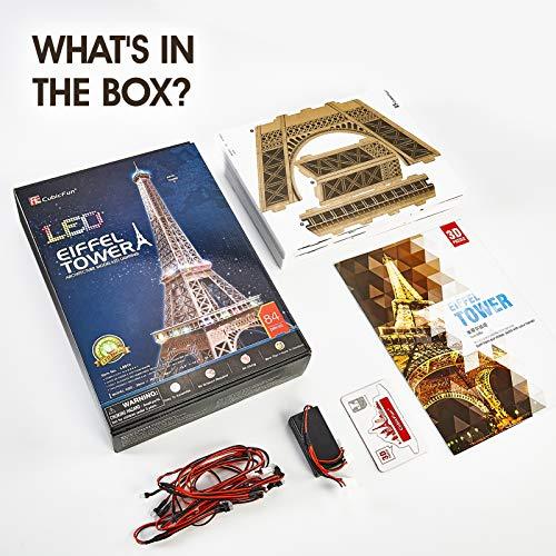 Cubicfun Puzzle 3d Torre Eiffel Con Brillanti Luci A Led Romantico Paris Architettura Kit Di Modellismo Decorazione Regalo Per Adulti Bambini 84 Pezzi 0 4