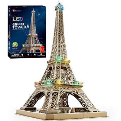 Cubicfun Puzzle 3d Torre Eiffel Con Brillanti Luci A Led Romantico Paris Architettura Kit Di Modellismo Decorazione Regalo Per Adulti Bambini 84 Pezzi 0