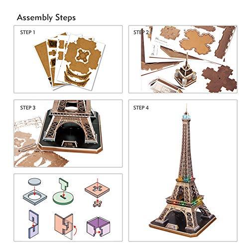 Cubicfun Puzzle 3d Torre Eiffel Con Brillanti Luci A Led Romantico Paris Architettura Kit Di Modellismo Decorazione Regalo Per Adulti Bambini 84 Pezzi 0 5