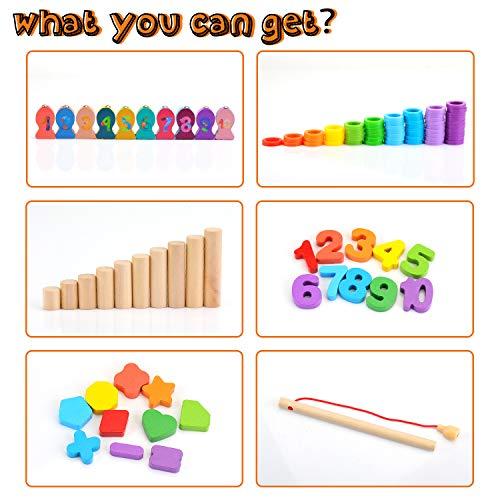 Ekkongpuzzle Di Legno Numeri Di Conteggio In Legnopuzzle Digitale Giocattoli Educativi Per Lapprendimento Precoce Per Bambini 1 2 3 Anni 0 0