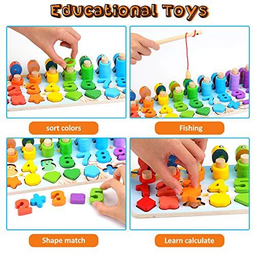 Ekkongpuzzle Di Legno Numeri Di Conteggio In Legnopuzzle Digitale Giocattoli Educativi Per Lapprendimento Precoce Per Bambini 1 2 3 Anni 0 2