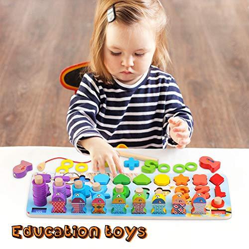 Ekkongpuzzle Di Legno Numeri Di Conteggio In Legnopuzzle Digitale Giocattoli Educativi Per Lapprendimento Precoce Per Bambini 1 2 3 Anni 0 3