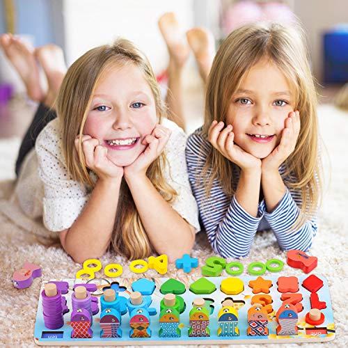 Ekkongpuzzle Di Legno Numeri Di Conteggio In Legnopuzzle Digitale Giocattoli Educativi Per Lapprendimento Precoce Per Bambini 1 2 3 Anni 0 4