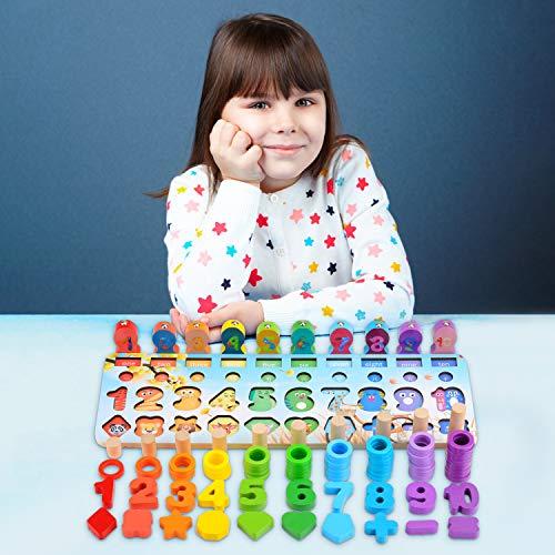 Ekkongpuzzle Di Legno Numeri Di Conteggio In Legnopuzzle Digitale Giocattoli Educativi Per Lapprendimento Precoce Per Bambini 1 2 3 Anni 0 5
