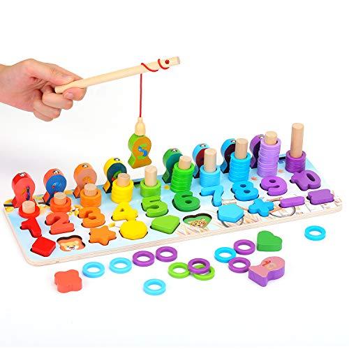 Ekkongpuzzle Di Legno Numeri Di Conteggio In Legnopuzzle Digitale Giocattoli Educativi Per Lapprendimento Precoce Per Bambini 1 2 3 Anni 0