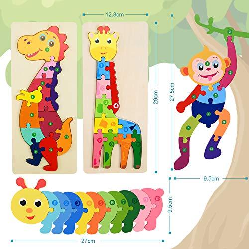 Faburo 4pcs Animali Da Puzzle In Legno Giocattoli Bambini Animali Da Puzzle Di Legno Numero Educativo Giochi Set Regalo Per 3 4 5 6 Anni Bambina 0 0