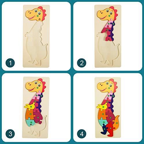 Faburo 4pcs Animali Da Puzzle In Legno Giocattoli Bambini Animali Da Puzzle Di Legno Numero Educativo Giochi Set Regalo Per 3 4 5 6 Anni Bambina 0 1