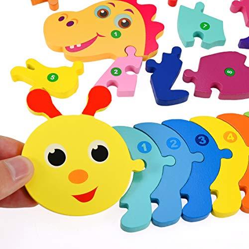 Faburo 4pcs Animali Da Puzzle In Legno Giocattoli Bambini Animali Da Puzzle Di Legno Numero Educativo Giochi Set Regalo Per 3 4 5 6 Anni Bambina 0 2