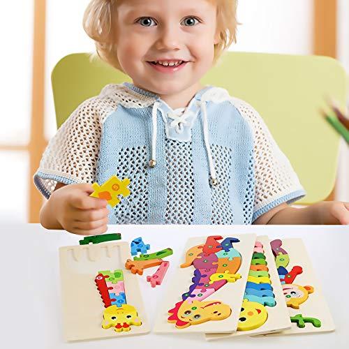 Faburo 4pcs Animali Da Puzzle In Legno Giocattoli Bambini Animali Da Puzzle Di Legno Numero Educativo Giochi Set Regalo Per 3 4 5 6 Anni Bambina 0 4