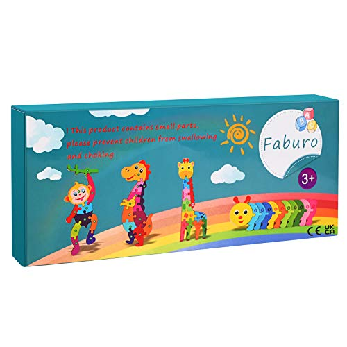 Faburo 4pcs Animali Da Puzzle In Legno Giocattoli Bambini Animali Da Puzzle Di Legno Numero Educativo Giochi Set Regalo Per 3 4 5 6 Anni Bambina 0 5