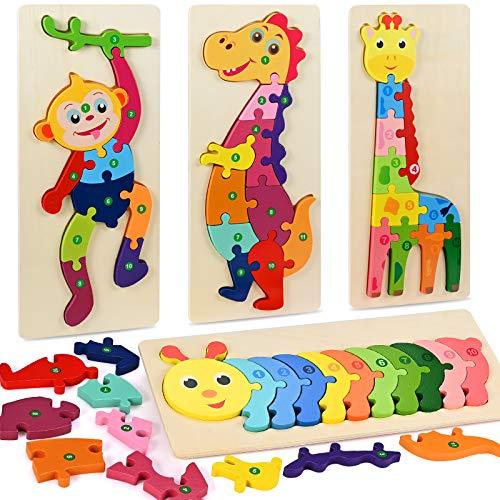 Faburo 4pcs Animali Da Puzzle In Legno Giocattoli Bambini Animali Da Puzzle Di Legno Numero Educativo Giochi Set Regalo Per 3 4 5 6 Anni Bambina 0