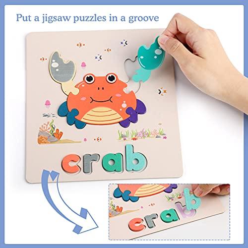 Fascol Puzzle Legno Bambini 6 Pezzi Puzzle Di Set Con Lettere E Animali Puzzle Educativo Giocattoli In Legno Multicolore Per Bambini Superiore A 15 Anni 0 3