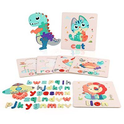 Fascol Puzzle Legno Bambini 6 Pezzi Puzzle Di Set Con Lettere E Animali Puzzle Educativo Giocattoli In Legno Multicolore Per Bambini Superiore A 15 Anni 0