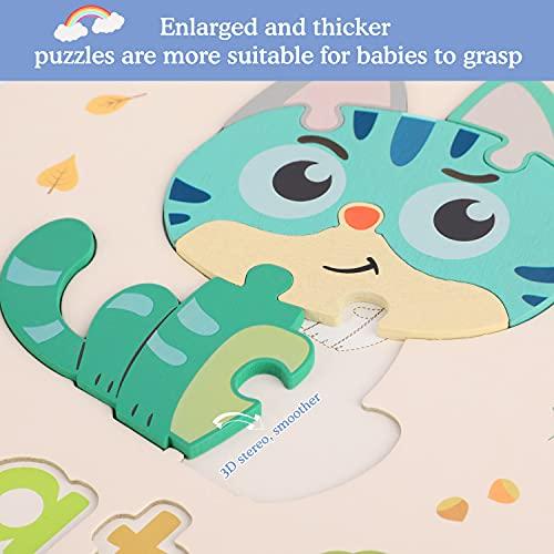 Fascol Puzzle Legno Bambini 6 Pezzi Puzzle Di Set Con Lettere E Animali Puzzle Educativo Giocattoli In Legno Multicolore Per Bambini Superiore A 15 Anni 0 5