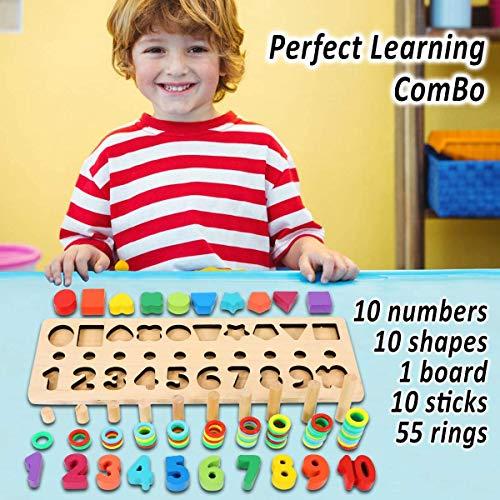 Felly Giochi Bambini 1 2 3 Anni Giocattoli Educativi Montessori Da Puzzle In Legno Anelli Impilabili Per Imparare La Matematica Contare E Imparare I Colori Giochi Educativo Set Regalo 0 1