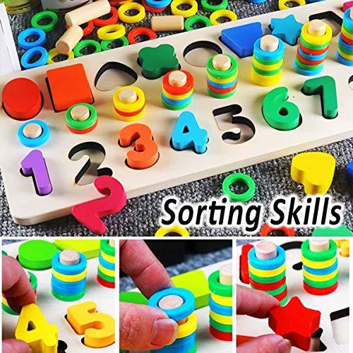 Felly Giochi Bambini 1 2 3 Anni Giocattoli Educativi Montessori Da Puzzle In Legno Anelli Impilabili Per Imparare La Matematica Contare E Imparare I Colori Giochi Educativo Set Regalo 0 4