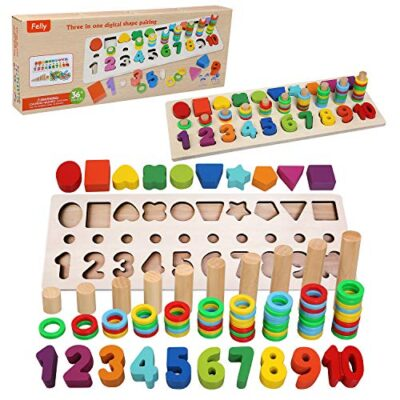 Felly Giochi Bambini 1 2 3 Anni Giocattoli Educativi Montessori Da Puzzle In Legno Anelli Impilabili Per Imparare La Matematica Contare E Imparare I Colori Giochi Educativo Set Regalo 0