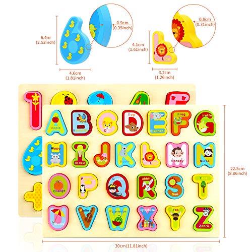 Gwhole 2 Pz Puzzle In Legno Per Bambini Set Giochi Bambino Montessori Giocattoli Educativi Numeri Lettere Alfabeto 3d Strumenti Didattici Scuola Materna 0 0