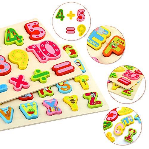Gwhole 2 Pz Puzzle In Legno Per Bambini Set Giochi Bambino Montessori Giocattoli Educativi Numeri Lettere Alfabeto 3d Strumenti Didattici Scuola Materna 0 1