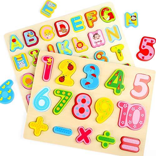Gwhole 2 Pz Puzzle In Legno Per Bambini Set Giochi Bambino Montessori Giocattoli Educativi Numeri Lettere Alfabeto 3d Strumenti Didattici Scuola Materna 0 2
