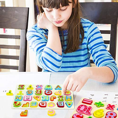 Gwhole 2 Pz Puzzle In Legno Per Bambini Set Giochi Bambino Montessori Giocattoli Educativi Numeri Lettere Alfabeto 3d Strumenti Didattici Scuola Materna 0 3
