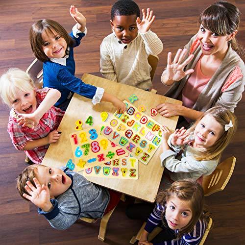 Gwhole 2 Pz Puzzle In Legno Per Bambini Set Giochi Bambino Montessori Giocattoli Educativi Numeri Lettere Alfabeto 3d Strumenti Didattici Scuola Materna 0 5