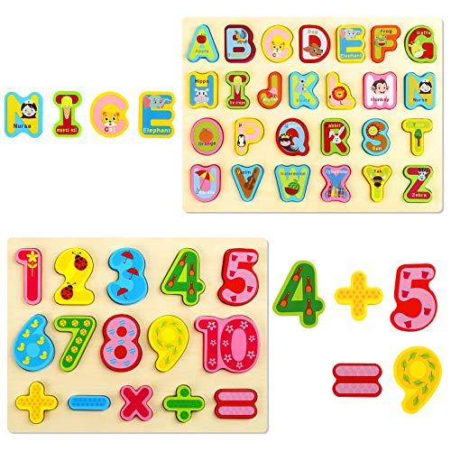 Gwhole 2 Pz Puzzle In Legno Per Bambini Set Giochi Bambino Montessori Giocattoli Educativi Numeri Lettere Alfabeto 3d Strumenti Didattici Scuola Materna 0