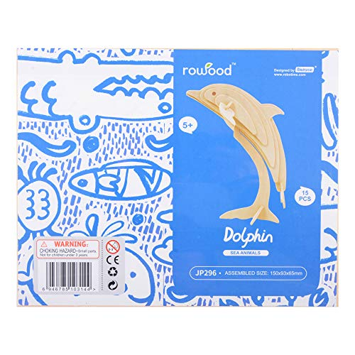 Georgie Porgy 3d Wooden Puzzle Dolphin Model Woodcraft Construction Kit Giocattolo Per Bambini Jp296 Dolphin 15pcs 0 2