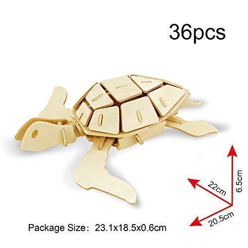 Georgie Porgy Puzzle In Legno 3d Collezione Di Modelli Animali Traffico Confezione Da 3 Kit Per Costruzioni In Legno Kids Jigsaw Toy Eta 5 Leone Marino Tartaruga Delfino 0 1