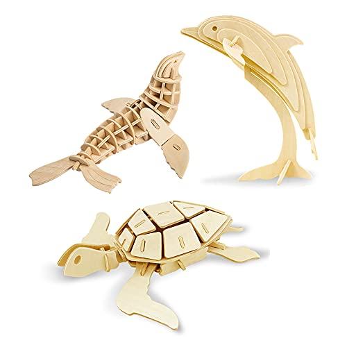 Georgie Porgy Puzzle In Legno 3d Collezione Di Modelli Animali Traffico Confezione Da 3 Kit Per Costruzioni In Legno Kids Jigsaw Toy Eta 5 Leone Marino Tartaruga Delfino 0