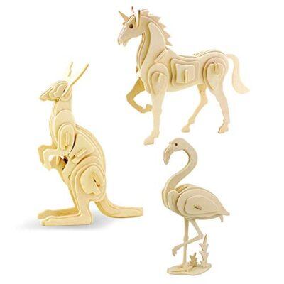 Georgy Porgy 3d Puzzle Di Legno Modello Collezione Di Modelli Animali Traffico Woodcraft Costruzione Impostato Bambini Giocattoli Per Ragazzi E Ragazze Eta 5 3 Pezzo Cavallo Canguro Fenicotteri 0