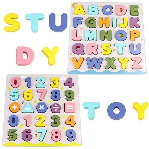 Giochi Bambini Puzzle Legno Bambina Bambino 2 3 4 Anni 2 In 1 Puzzle Lettere Numero Set Montessori Educativi Regalo Multicolore 0 1
